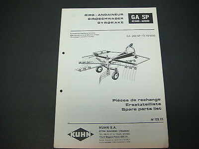 (Kuhn Manual Gyrorake GA SP 230-280 Spare Parts List No. 128.04)