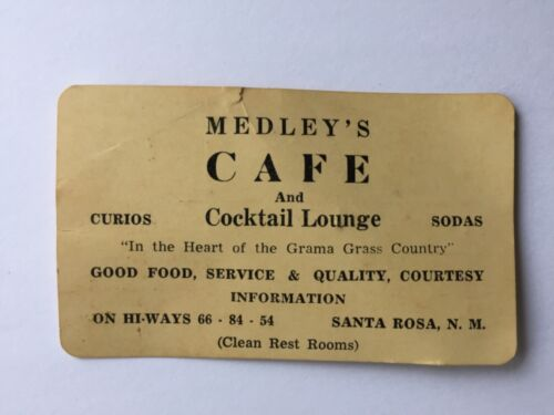 Vintage medley's cafe trade business card Route 66 Santa Rosa New Mexico dinner