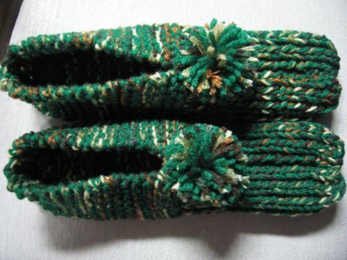 "Unisex Adult Amish Handmade Slippers Green Woodsy Mix Wms X Lg Mans Lg 10 1/2"""