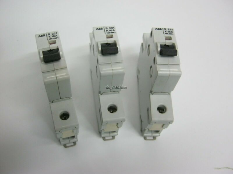 Lot of 3 ABB S-221-K-16A Circuit Breakers S221K16A