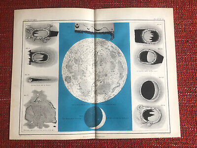 1856 THE MOON Atlas Of Astronomy COLOUR ENGRAVING