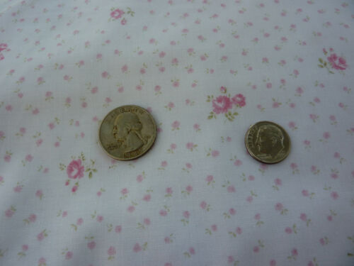 Yuwa Dreamy Pink Roses on White Cotton Fabric  Small Scale - HTF Out of Print
