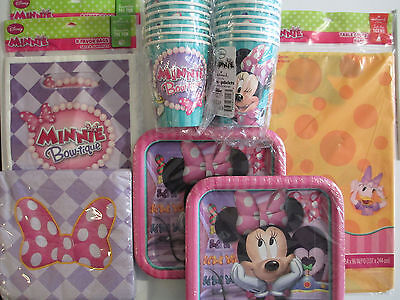 MINNIE MOUSE Bow-Tique Dream Birthday Party Supply Kit for 16 w/ Treat Bags