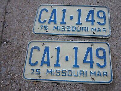 MAR 1975 ORIGINAL Vintage CA1 149  Missouri License Plate MO