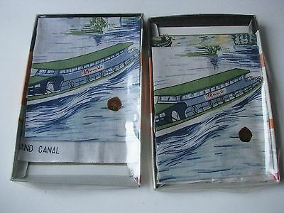 Vtg Set 1980S Wuxi Scenic China Handkerchiefs Cloth Tourist Souvenir Grand Canal
