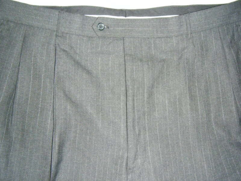 MENS SZ 40 JONES OF NY NAVY WITH LIGHT BLUE STRIPE CUFFED 1/2 LINED WOOL PANTS