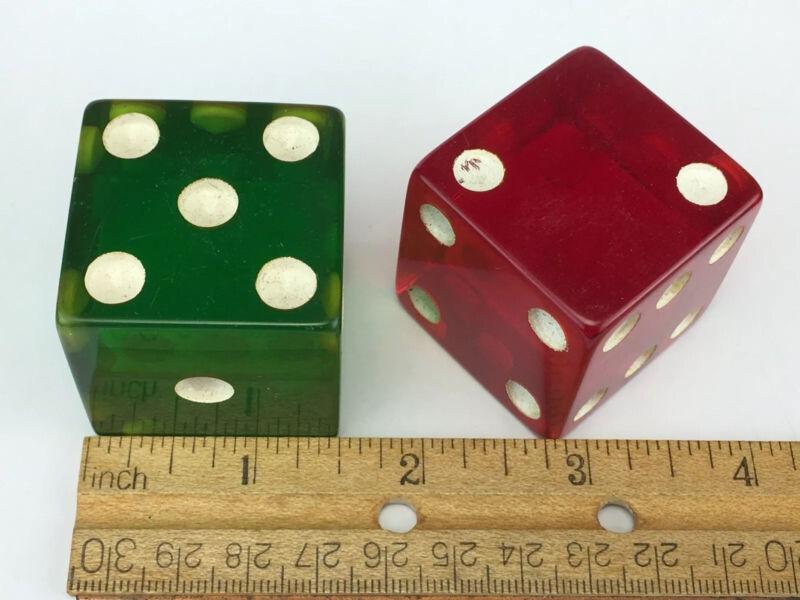 "Pair of LARGE 1.5"" Bakelite Dice Red & Green"