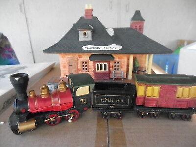 Dickens' Village Chadbury Station And Train Set of 4 NRFB