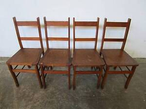 D8081 Set 4 Vintage Oak Kitchen Dining Chairs w/ Cut Pattern Unley Unley Area Preview
