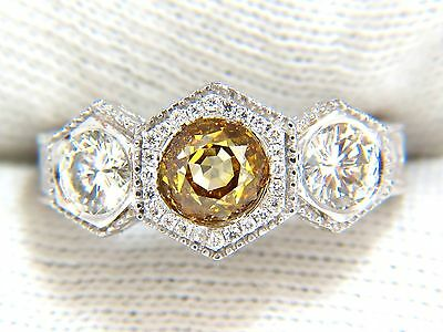 GIA 2.30CT FANCY YELLOW BROWN DIAMONDS RING 18KT EDWARDIAN CROWN DECO+ 7
