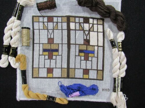 Hand Painted Needlepoint Canvas Kit STAINED GLASS Frank Lloyd Wright Inspired