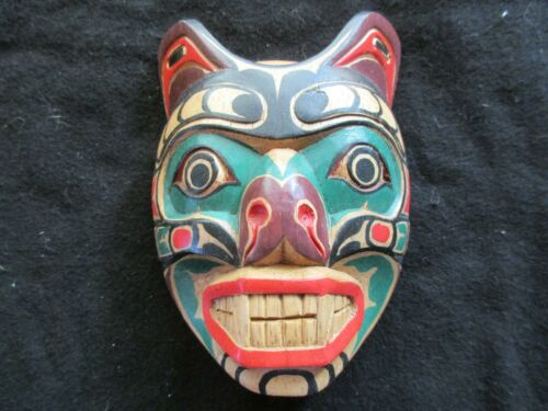 """CLASSIC NORTHWEST COAST DESIGN, """"WOLF"""" CARVED WOODEN MASK,  WY-0221*01908A"""