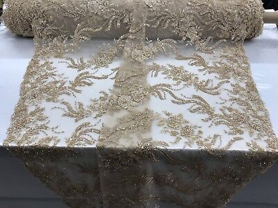 Lace Fabric By The Yard - Embroidered Beaded & Sequins Gold Mesh Dress for sale  Shipping to Canada