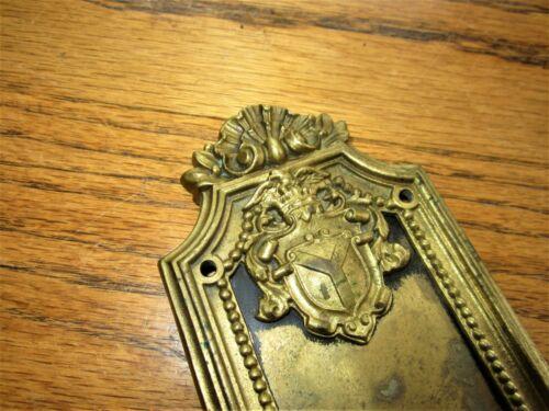 Ornate Bronze Door Plate & DOORBELL BUTTON BUZZER Victorian Brass Doorknob Back