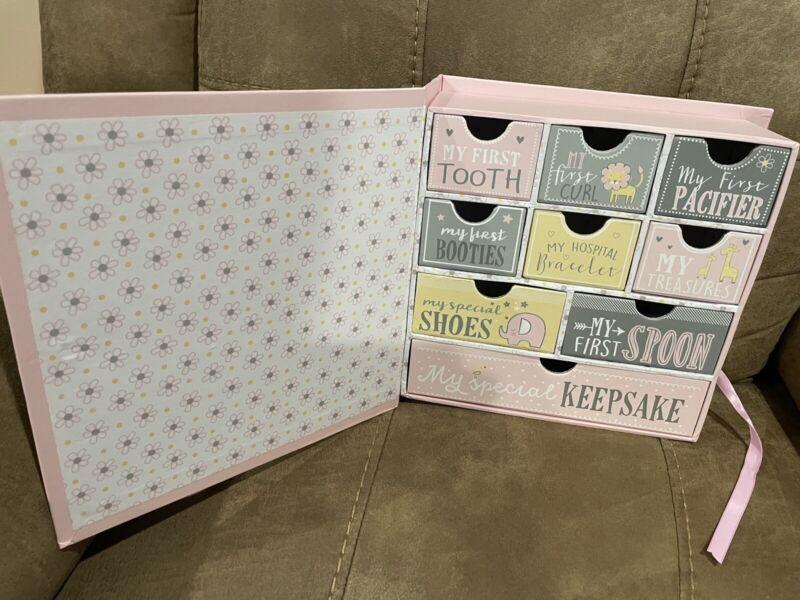 Baby Memory Keepsake Milestone 9 Drawer Box