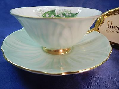 SHELLEY  LILY  OF  THE  VALLEY   FOOTED OLEANDER CUP AND SAUCER # 13832/S3