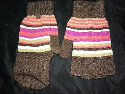 Back Mittens - girls BROWN STRIPE KNIT WINTER FOLD BACK MITTENS GLOVES one size fits most
