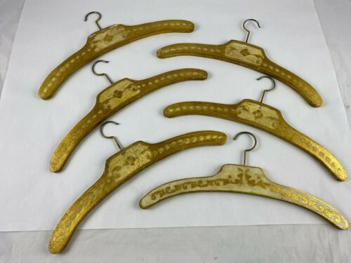 6 Vintage Florentine Wood Hangers Hand Painted Italian Gold Gilt Clothes Italy