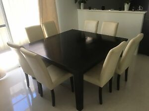 dining table + leather chairs Leda Kwinana Area Preview
