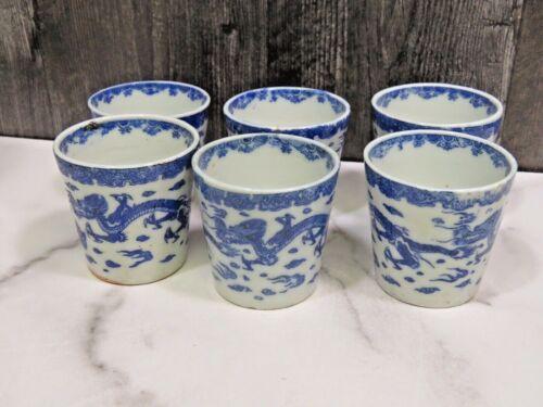 Set 6 Japanese Old Imari-ware Blue & White Dragon SOBA CUP Soba Choko Tea Sake