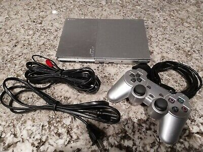 Sony Playstation 2 PS2 Slim Silver System Bundle, SCPH-90001