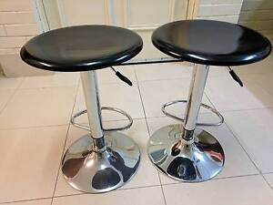 2x bar stools, black lacquer and chrome, gas lift Maylands Bayswater Area Preview