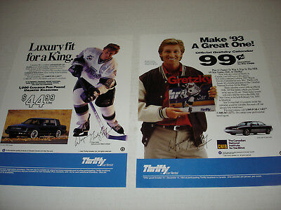 Wayne Gretzky Original Thrifty Car Rental 1992 Handbill Ad Lot Of 2 Rare 8X11