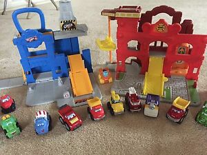 Tonka Chuck and Friends Garage and Fire Station with 17 trucks