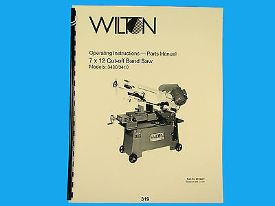 Wilton Model 3400 3410 Horizontal Band Saw Op Instruct Parts Manual 319