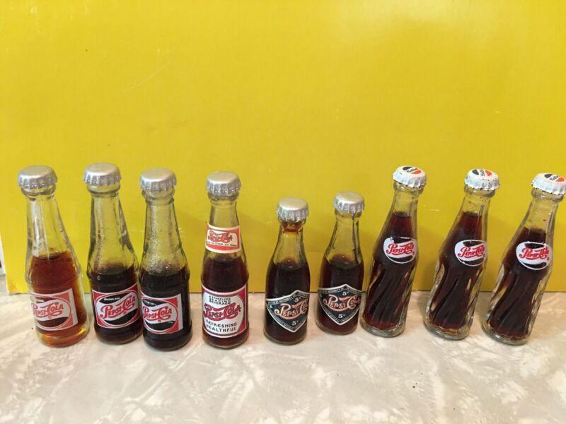"""Vintage Miniature Pepsi Cola Glass Bottles 2-1/2"""""""