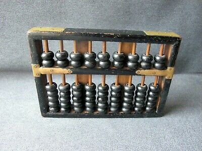 Vintage black wooden and golden metal 9 roads 63 beads chinese abacus
