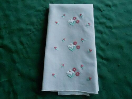 GREY VINTAGE TOWEL WITH PINK AND WHITE FLOWERS, HAND EMBROIDERED,1930