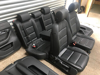08-12 AUDI A6 C6 SALOON FULL SET OF INTERIOR BLACK LEATHER SEATS WITH DOOR CARDS