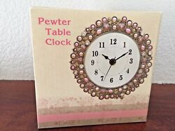 Brand New Never Opened Pewter Table Clock with Beads