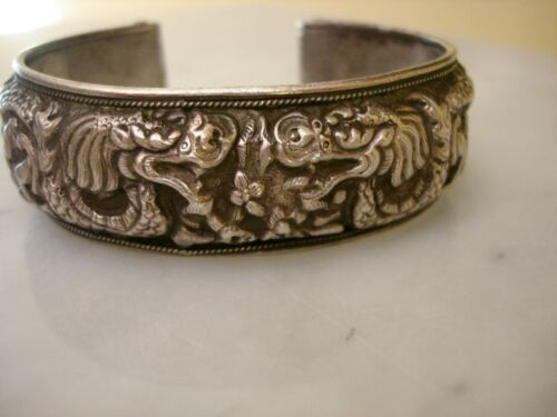 Antique Chinese Sterling Silver Dragon Bracelet