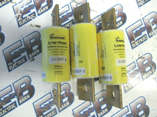 BUSSMAN LPJ-200SP, (1) MATCHED SET OF (3)  200 Amp, 600V, Class J Fuses - NEW-S