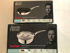 TEFAL JAMIE OLIVER 20cm FRYING PAN and 24cm SAUTE PAN with LID Kangaroo Point Brisbane South East Preview