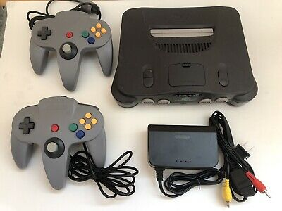 Nintendo 64 N64 OEM Console Complete Bundle with 2 Controllers Tested all Cords