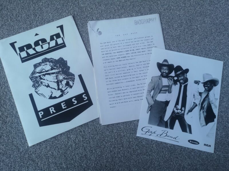 Offiical RAC Press Release for THE GAP BAND - With Photo Circa 1986