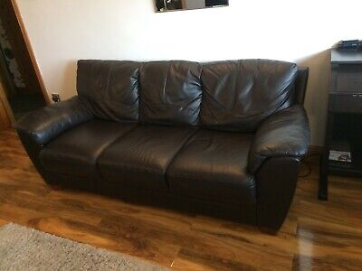 Harvey's 2 and 3 Seat Brown Leather Sofa's