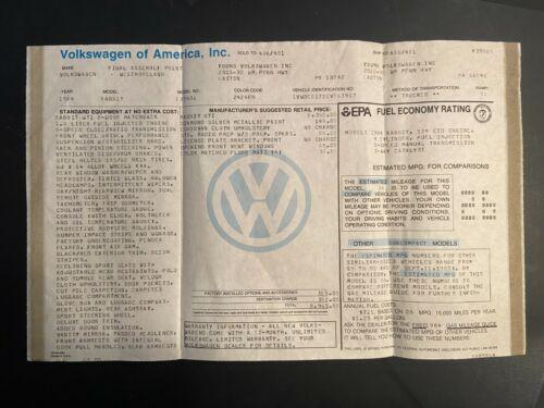 Volkswagen GTI Mk1 Dealer Window Sticker Original