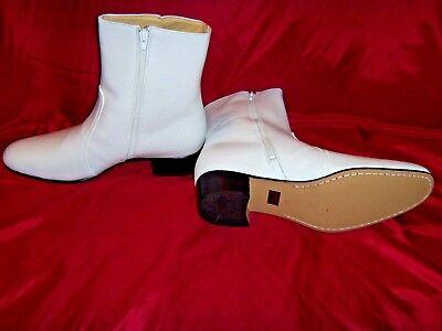 Size USA (9.5) Elvis BRIGHT WHITE 100% Leather Zip Boots (Jumpsuit Era Costume)