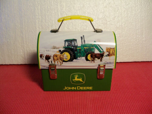 John Deere Small Tin Lunch Box with music box plays God Bless America