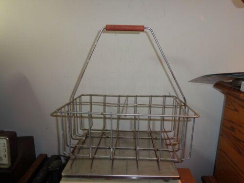 Antique/Vintage Milk 4-Bottle Holder Metal Caddy Basket Carrier