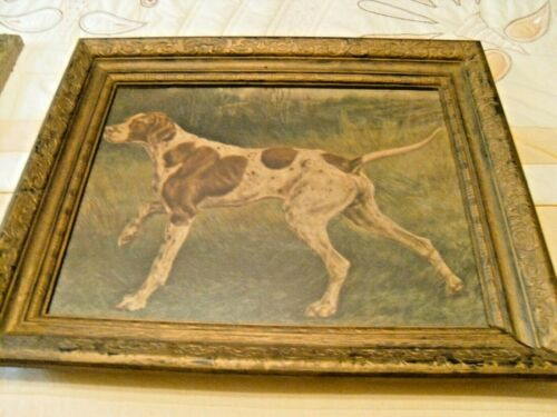 "Vintage Hunting Dog Pointer Art Print 17"" x 14 1/2"""