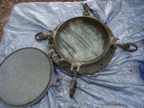 Vintage Brass Marine 4 Keys Porthole rare with Hatch 12 inch glass