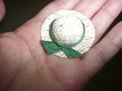 LADY'S STRAW  HAT - WITH GREEN RIBBON   - DOLL HOUSE MINIATURE