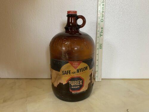 Vintage Amber 1 Gallon Embossed Purex Jug w/Partial Label By Duraglas