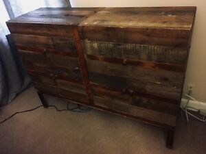Reclaimed barn board and steel dresser/sideboard