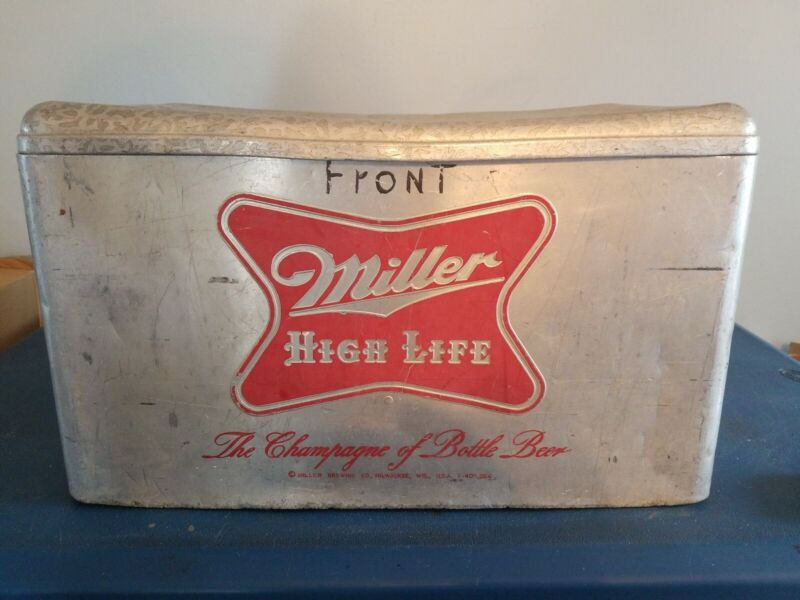1960s Miller high life beer aluminium bottle cans outdoor cooler cronstroms mn